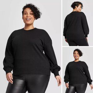 Ava & Viv Women's Plus Size Sweatshirt Black X1
